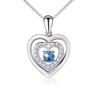 Jewelry - Sterling Silver Blue CZ Forever Love Heart Necklac